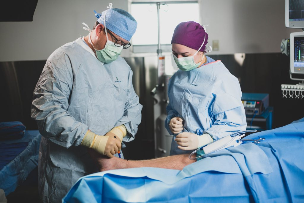 Dr. Jason Bailey performs a foot & ankle surgical procedure at Faith Regional Health Services.